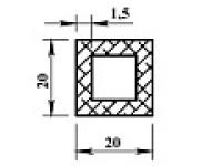 Алюминиевая труба квадр. 20х20х1,5 анодиров