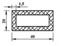 Алюминиевая труба прямоуг. 40х20х1,5 (2,0м) не анодиров