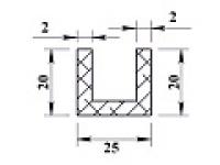 Алюминиевый швеллер 20х25х20х2 (2,0м)