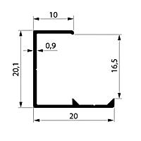 Профиль торцевой. Арт. L 16-17 мм, 3 метра
