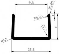 Торцевой алюминиевый профиль П10 для плиты 10 мм