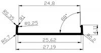 Торцевой алюминиевый профиль П25 для плиты 25 мм