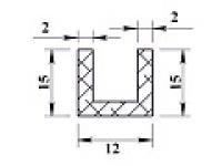 Алюминиевый швеллер 15х12х15х2 (2,0м)