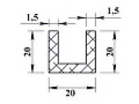 Алюминиевый швеллер 20х20х20х1,5 (2,0м)