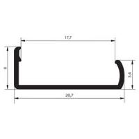 Алюминиевый накладной профиль С18 (защёлка) для плит ДСП 18мм